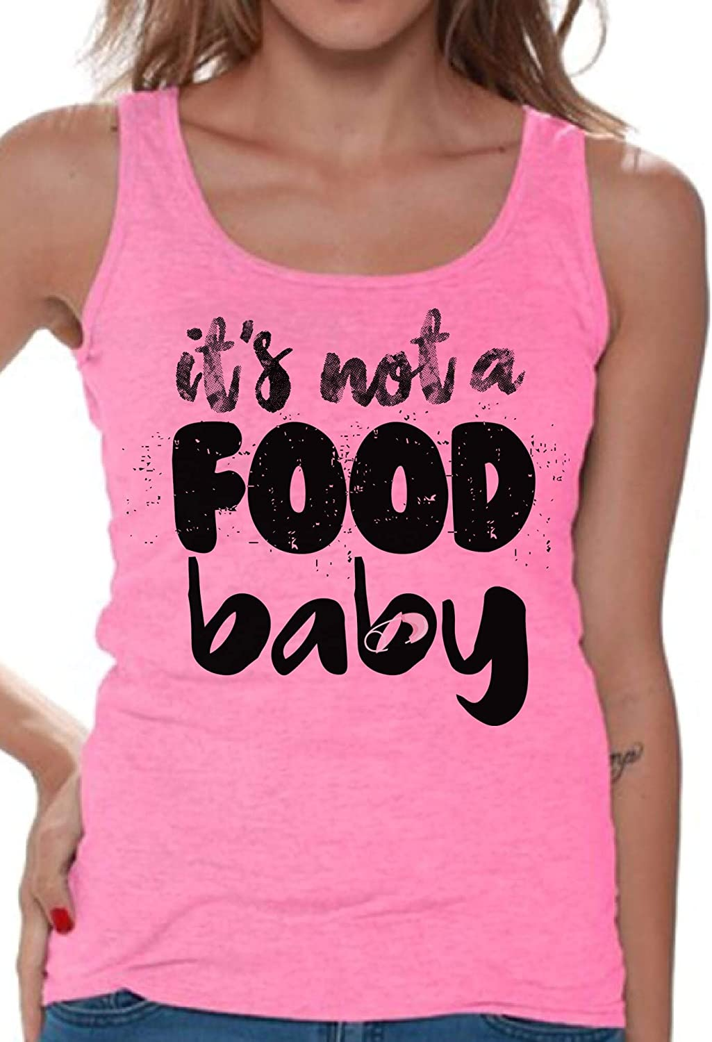 Awkward Styles It's Not a Food Baby Tank Top for Women Cute Shirt Pregnancy Reveal Tanks
