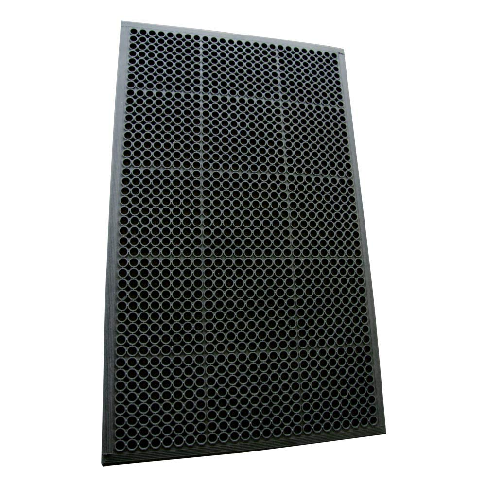 Rubber-Cal 03_122_WBK 1/2-inch Dura Chef Anti-Slip Rubber Kitchen Mat, 1/2'' x 36'' x 60'', Black