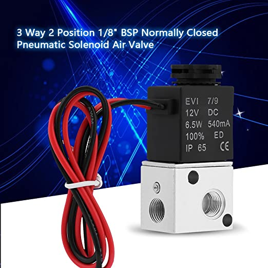 3V1-06 DC 12V//24V 3 Way 2 Position 1//8 BSP Normally Closed Solenoid Valve Pneumatic Electric Air Valve for Driven Pneumatic Power Control DC12V