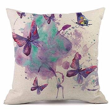 ikevan diseño de mariposas lino funda de almohada sofá cojín ...