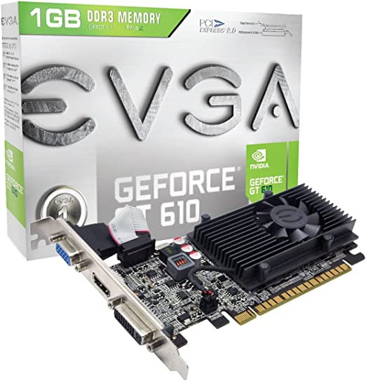 EVGA GeForce GT 610 1024MB DDR3, DVI, VGA and HDMI Graphics Card (01G-P3-2615-KR)