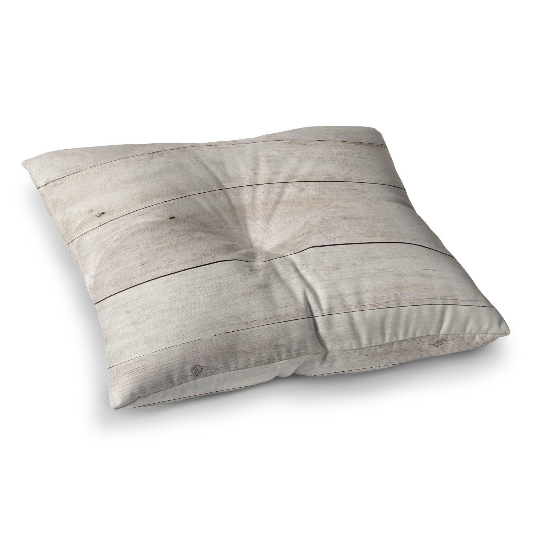 KESS InHouse Susan Sanders Wash Wood Beige White Square Floor Pillow x 26''