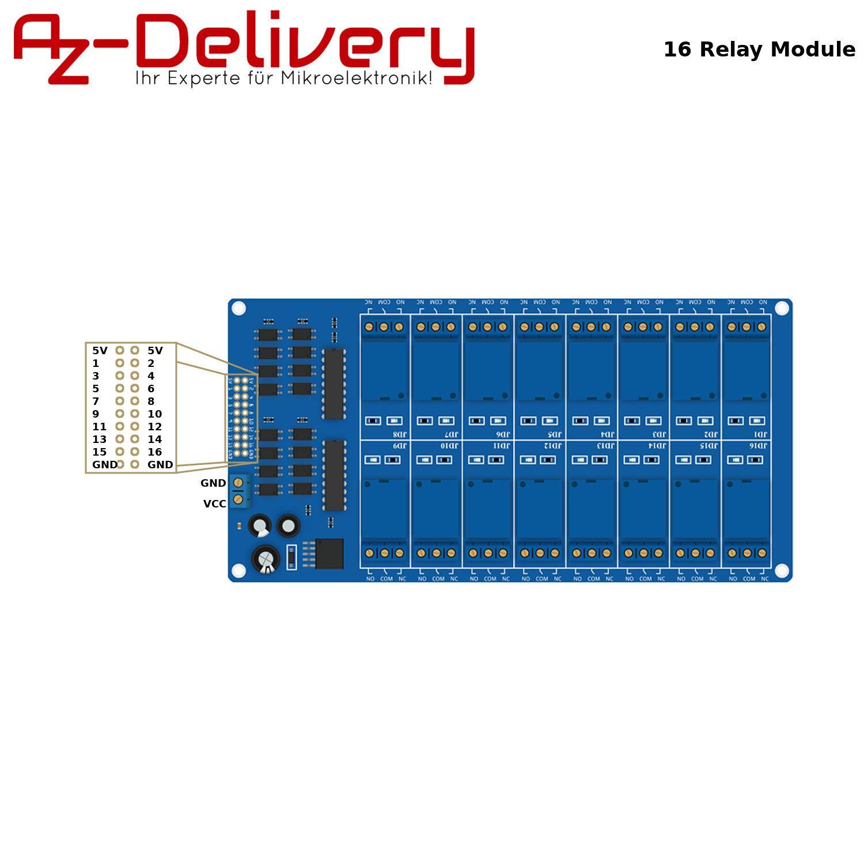 AZDelivery Modulo 16 Rele da 5V con Optoaccoppiatore per Arduino e con eBook