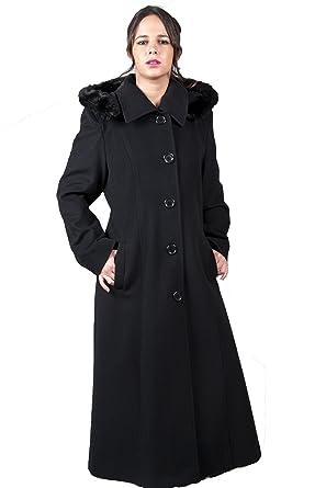 code promo 243df c2ed6 De la Creme - Manteau Femme Laine Noire Ruban Bordure Fausse Fourrure Coupe  Longue Taille : 38 - 54
