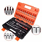 "46 Pcs 1/4"" Drive Socket & Bit Set with Reversible"