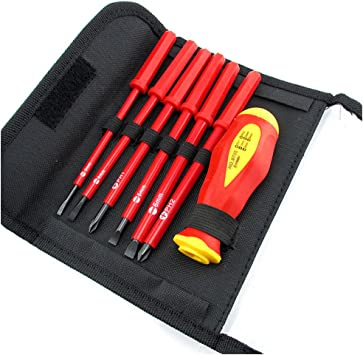 Insulated Electrical Screwdriver Set CR-V Slotted Phillips Head Precision Screw driver 1000V High Voltage Resistant 1 pcs Soft-grip Handle 6 pcs Magnetic Tips Electrician Home Outdoor Repair Tool Kit