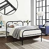 Single Metal Bed Frame Coavas 3ft Single Adults Solid Bedstead Base with 2 Headboard Metal Bed Frame Black