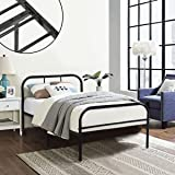 Single Metal Bed Frame Coavas 3ft Single Adults Solid Bedstead Base with 2 Headboard Metal Bed Frame Black (Send 1 Window Film by Free)