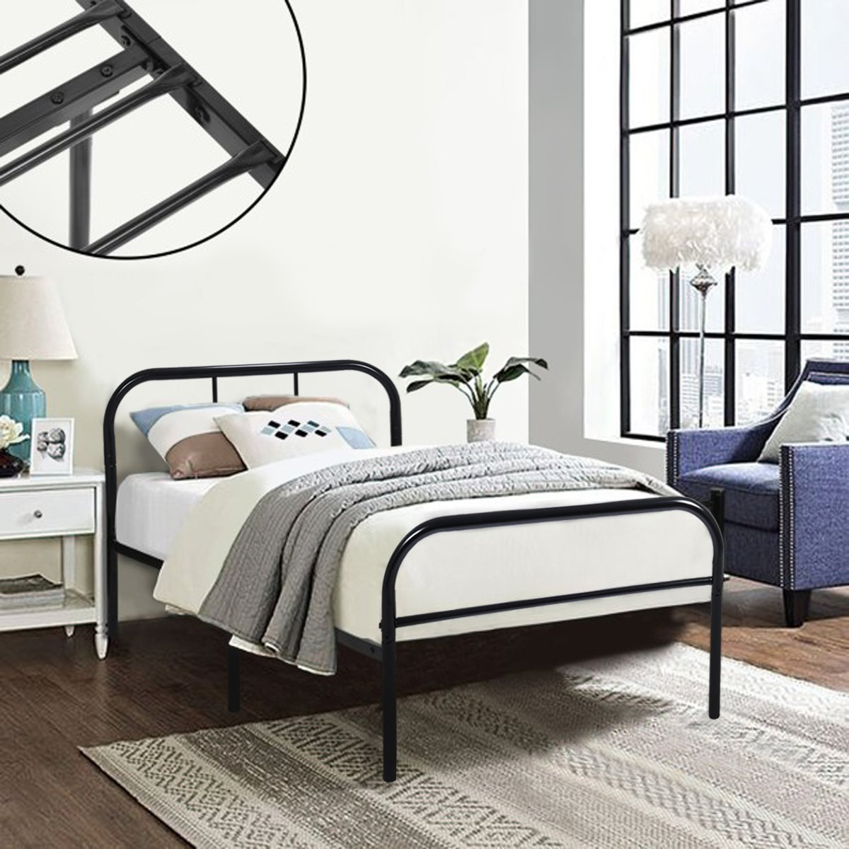 Coavas Single Metal Bed Frame 3ft Single Solid Bedstead Base with 2 ...