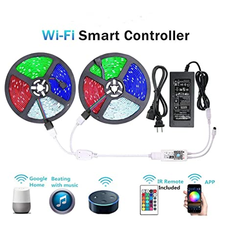 WenTop LED Light Strip, WiFi Wireless Smart Phone Controlled Strip Light  Kit 65 6ft 5050 RGB 600LEDs Lights with DC24V UL Rope Light,Working with