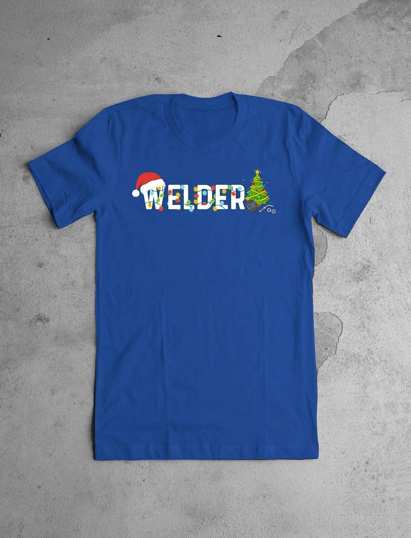 Blue T-Shirt Christmas Tree Lights Welder Job