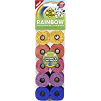 Bags on Board Dog Poop Bags | Strong, Leak Proof Dog Waste Bags | 9 x14 Inches, 140 Assorted Color Bags, Rainbow, (Model…