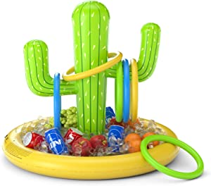 Jasonwell Inflatable Cactus Drink Holder Float Floating Beverage Salad Fruit Serving Bar Inflatable Ring Toss Game Set Pool Float Party Favors Accessories Water Fun Toys for Kids Adults