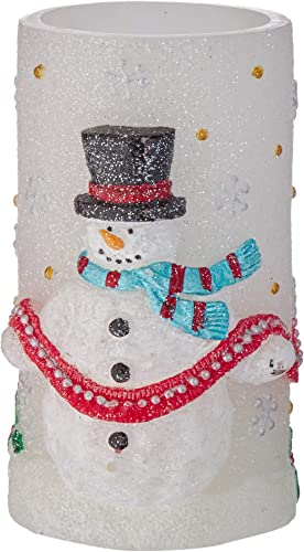 GiveU Snowman Flameless LED Timer Battery Operated Candle for Christmas Decoration, 6