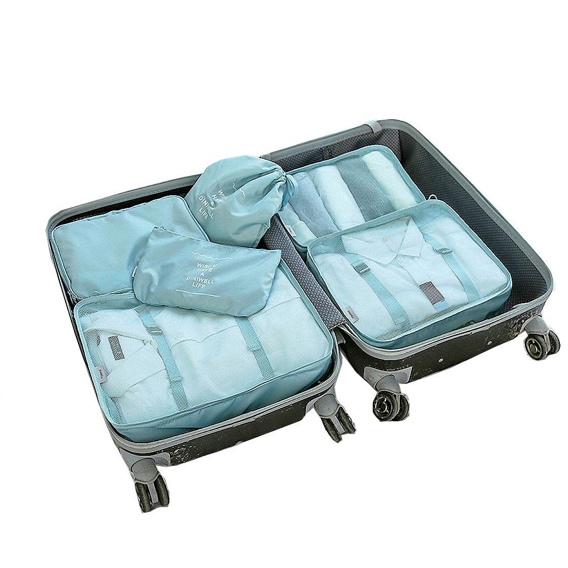 Packing Organizers - Clothing Cubes Shoe Bags Laundry Pouches For Travel Suitcase Luggage, Storage Organizer 6 Set Color Cyan