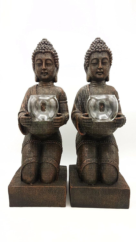 BO BO BO Buddha Windlicht - Set mit 2 Stück - Höhe ca. 43 cm - Teelichthalter - Figur - Geeignet für Indoor und Outdoor 012f0d