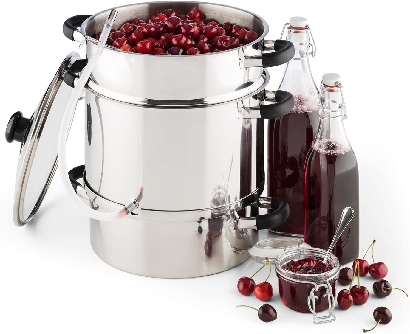 Klarstein Applebee Steam Electric Juicer 1500W, Ø25cm, 8 Litres, Fruit Juice Container, 2 Litres Capacity, Stainless Steel, Independent, Cool Touch