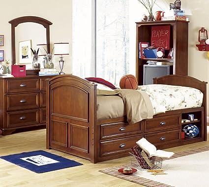 Lea Deer Run 4 Piece Captain Kidsu0027 Bedroom Set In Brown Cherry