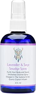 Sage Smudge Spray With Lavender For Cleansing and Clearing Energy (4 ounce) Liquid Blend Alternative To Sticks, Incense Or Bundles: Handmade With Pure Essential Oils and Real Quartz Crystals