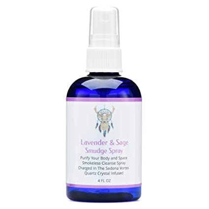 Sage Smudge Spray With Lavender For Cleansing and Clearing Energy (4 ounce)  Liquid Blend 173a9ef1c0