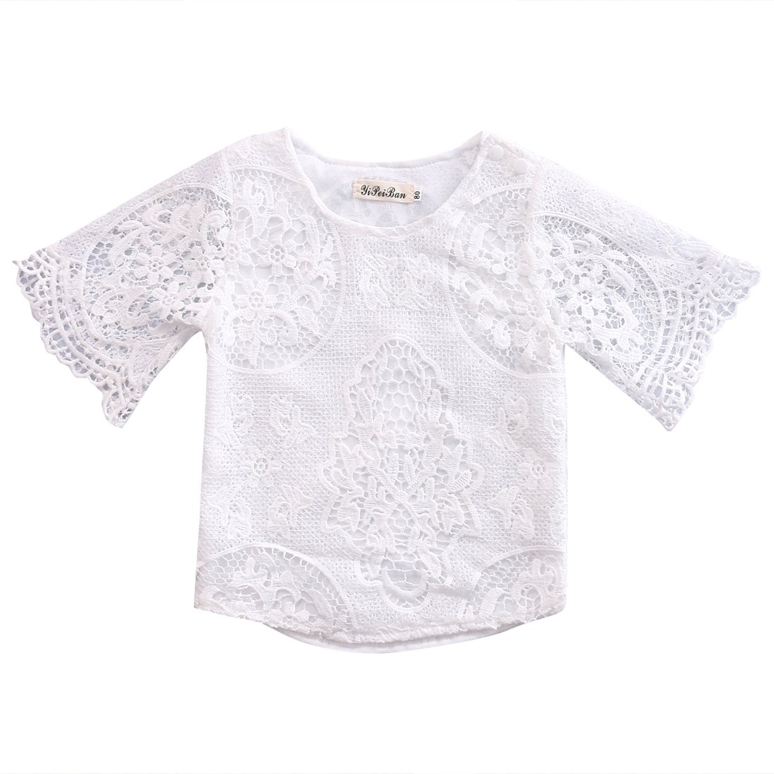 Kids Baby Girls Lace Hollow Tops T-shirt 1/2 Sleeve Blouse White Outfit Set, 3M-3Y