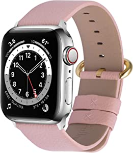 Fullmosa Compatible Apple Watch Band 38mm 40mm 42mm 44mm Leather Compatible iWatch Band/Strap Compatible Apple Watch SE & Series 6 5 4 3 2 1, 42mm 44mm Peach + Golden Buckle