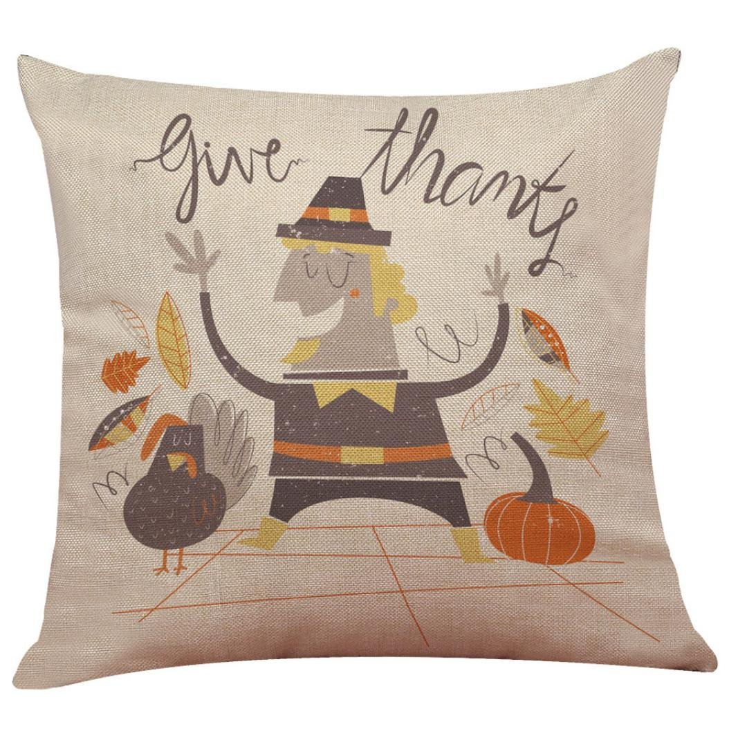 Howstar Decorative Thanksgiving Throw Pillow Cover Sofa Couch Pillowcase (O)