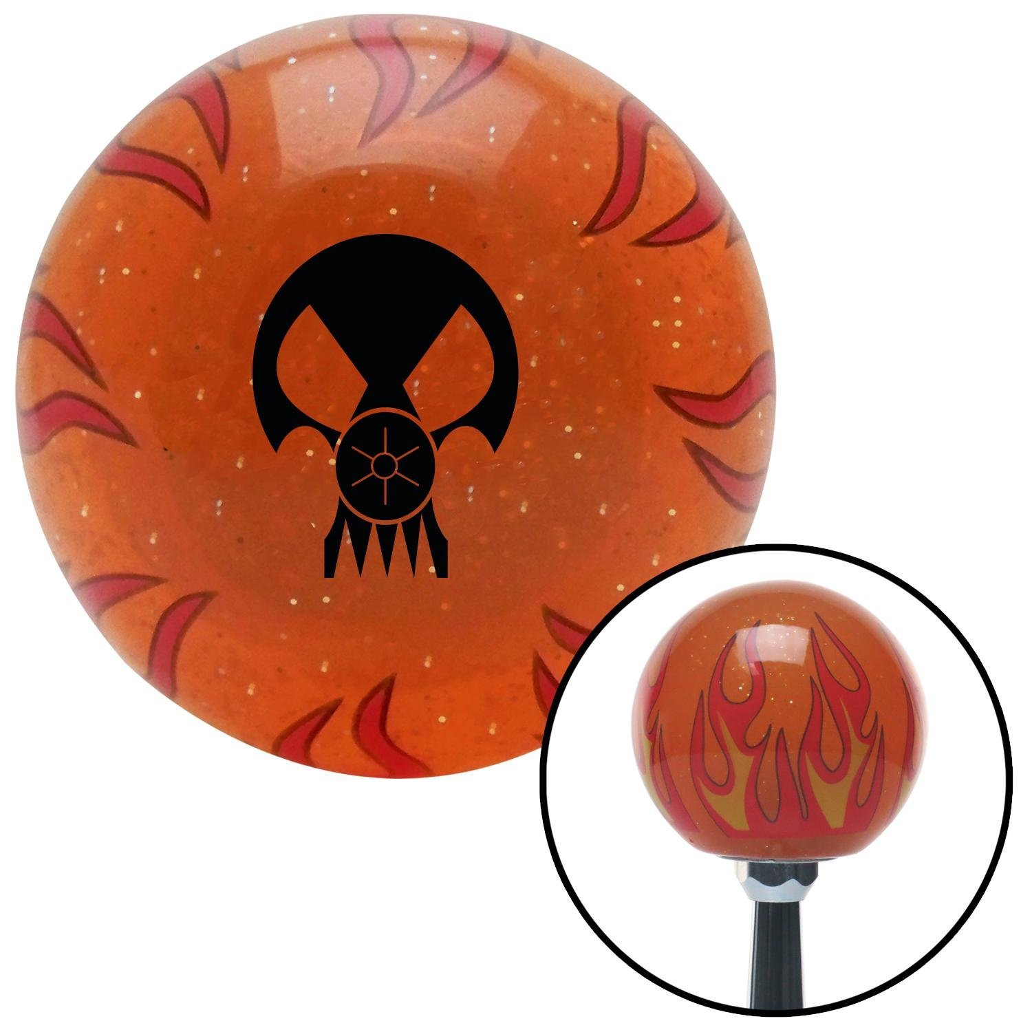 Black Skull Gas Mask American Shifter 255612 Orange Flame Metal Flake Shift Knob with M16 x 1.5 Insert