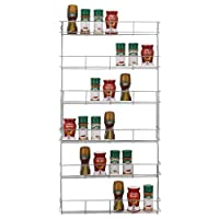 Top Home Solutions® 6 Tier Chrome Spice Rack Back Of Door Spice Jar Packet Holder