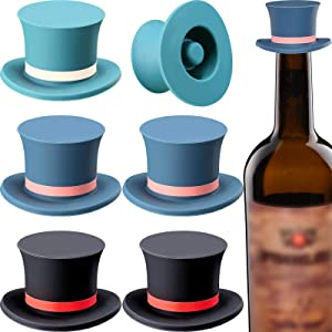 6 Pieces Magic Hat Wine Stoppers Silicone Wine Stopper Reusable Decorative Red Wine Seal Stopper Cap for Wine Beverage Soda Champagne Beer, 3 Colors