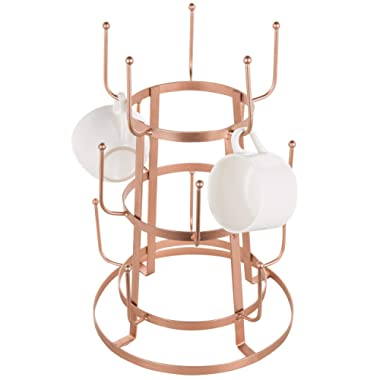 MyGift 15-Hook Rose Gold-Tone Metal Coffee Mug & Cup Stand