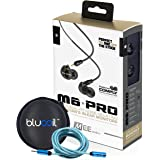 MEE Audio M6 PRO Universal-Fit Noise-Isolating Musician's In-Ear Monitors with Detachable Cables (Smoke) PLUS Blucoil Carrying Case AND Extender