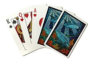 Black Tip Reef Shark - Paper Mosaic (Playing Card Deck - 52 Card Poker Size with Jokers)