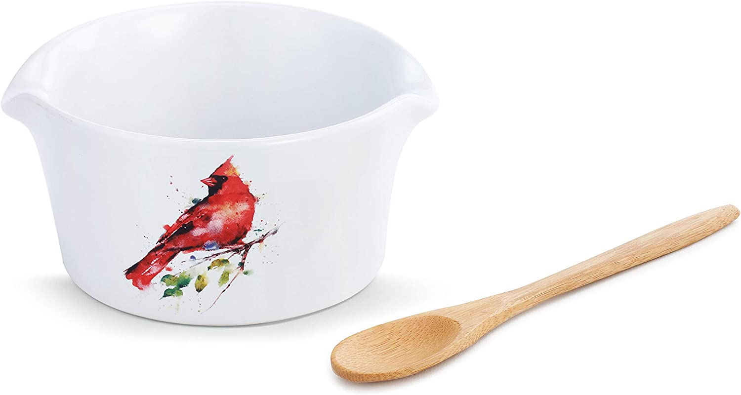 DEMDACO Spring Cardinal Watercolor Red 9 Ounce Stoneware Appetizer Bowl with Spoon