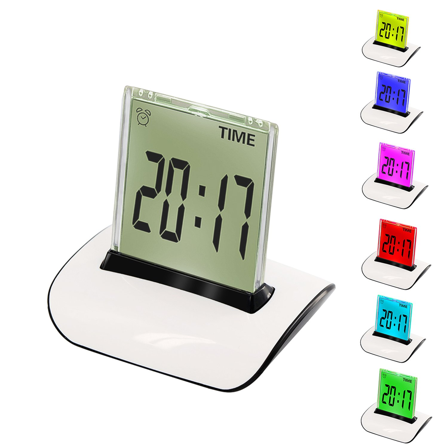CIGERA Alarm Clocks for Bedroom with 7 Color Changing Wake-Up Light,Indoor Temperature,Calendar,Snooze and Timer,Battery Operated
