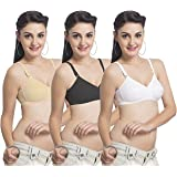 UltraFit Women's Cotton Non-Wired Daily Wear Bra - Combo Pack of 3
