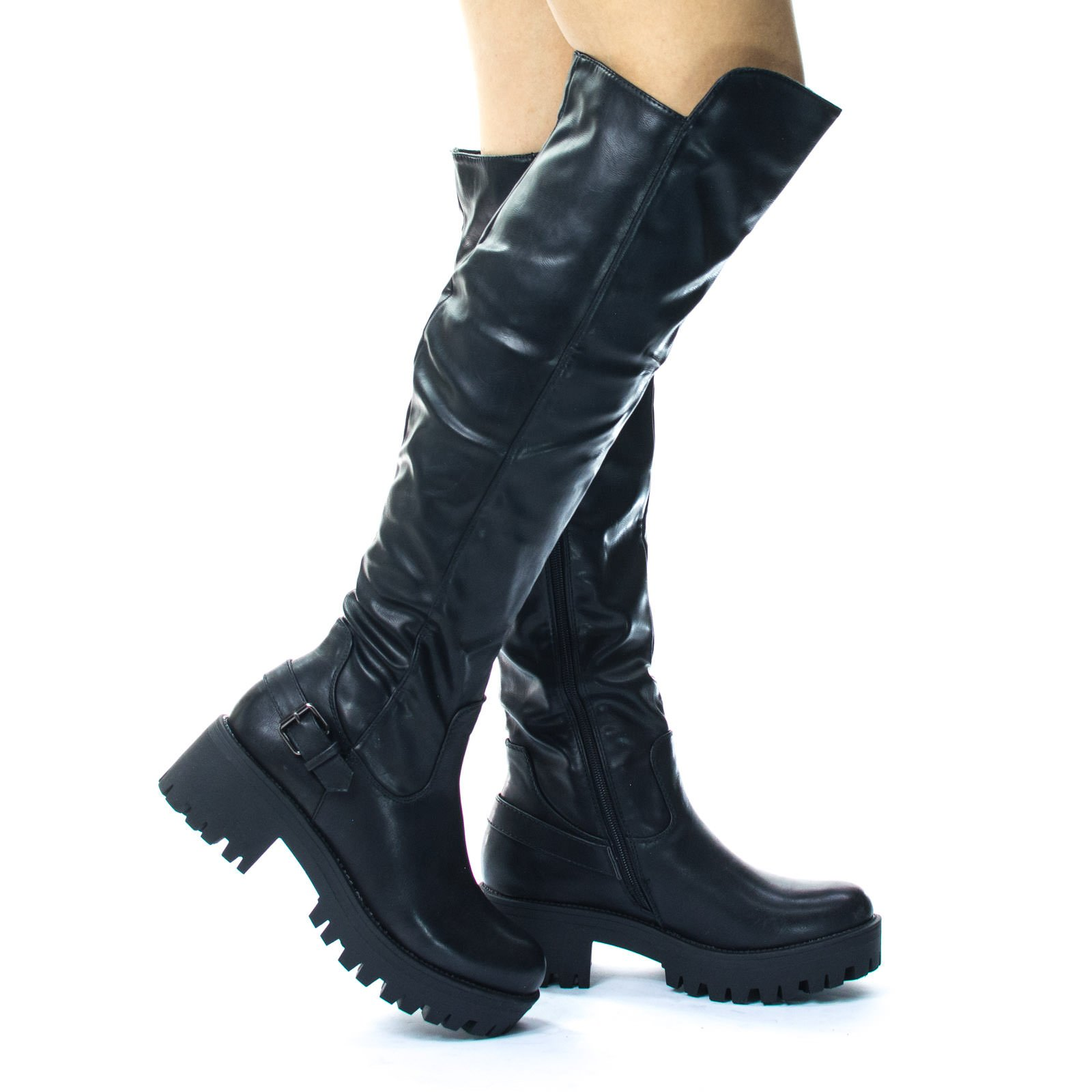 Lug Sole Over Knee Thigh High Belted Riding Boots. Platform Thread