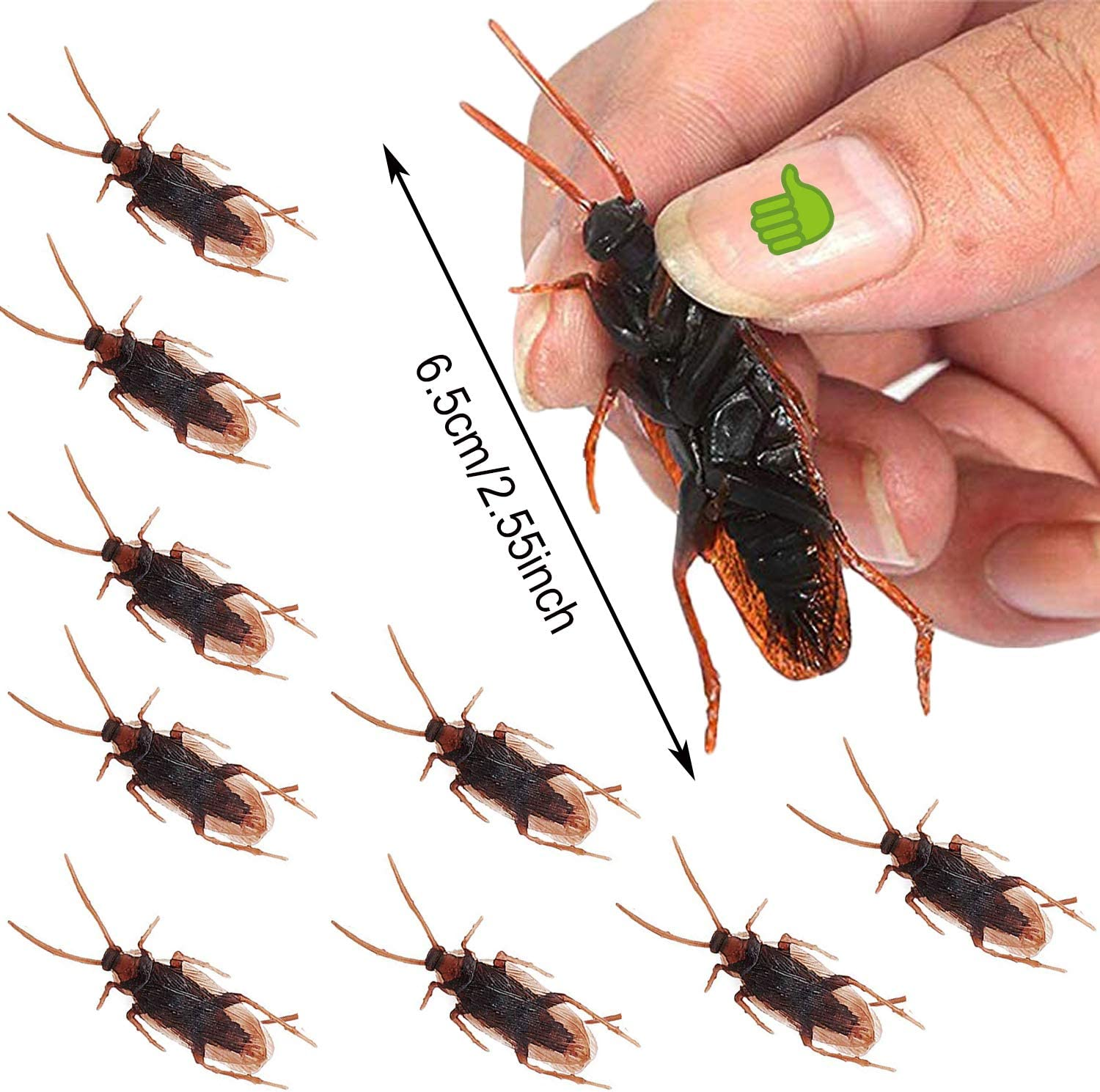 200PCS Simulated Realistic Cockroach Halloween Decoration Fake Cockroaches Prank Insects Novelty Deceptive Props Toy for Kid/'s Trick Decor bluesees Cockroach Toy