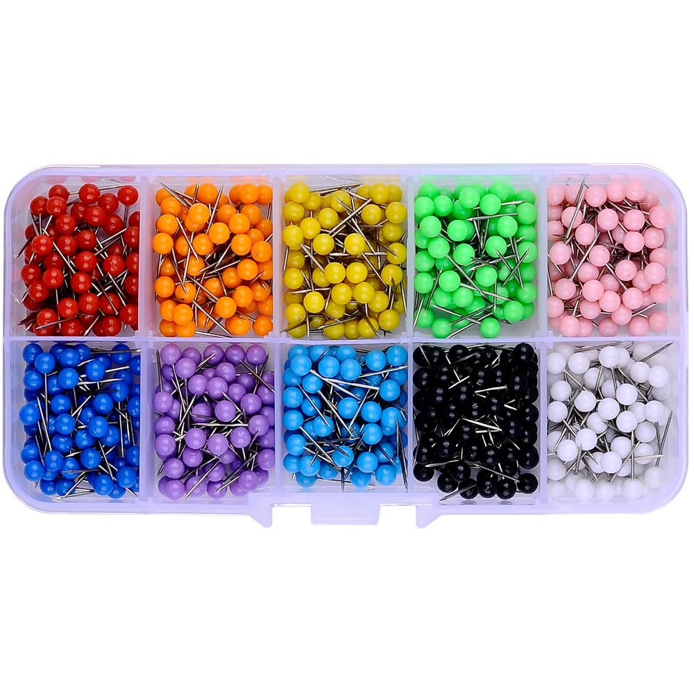 600 PCS Multi-color Push Pins Map tacks ,1/8 inch Round head with Stainless Point, 10 Assorted Colors (Each Color 60 PCS) in reconfigurable container for bulletin board, fabric marking besttoyhome