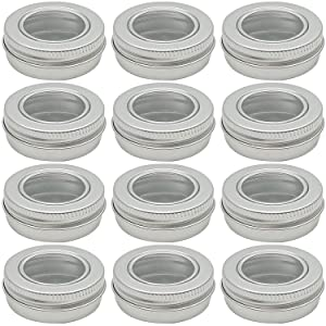 Hulless 0.5 oz Aluminum Tin Jar 15 ml Refillable Containers Clear Top Screw Lid Round Tin Container Bottle for Candle, Lip Balm, Salve, Eye Shadow, Powder, 12 Pcs.