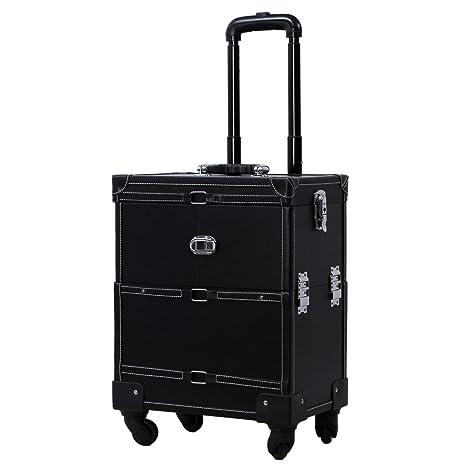 Songmics® beauty case Maleta para maquillajes Multiusos Trolley Con asas Tamaño grande Color negro JHZ02H