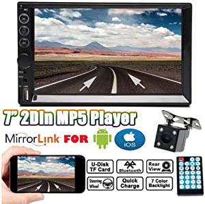 For 2005-2015 Scion tC xA xB xD, Double Din Car Stereo Radio 1080P Player FM Radio Bluetooth Mirror Link for GPS Nav Function, with Night View Rear Camera