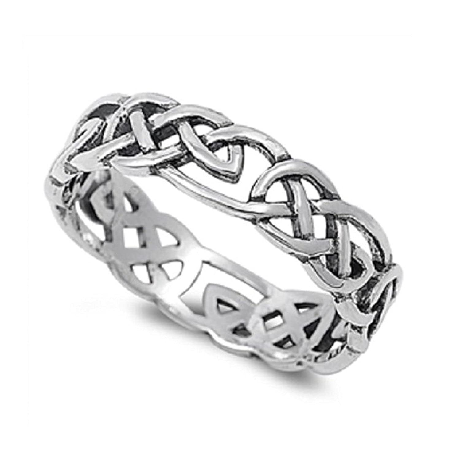 Celtic Wicca Pagan Eternity Ring Sterling Silver 925 (Sizes 4-15) CloseoutWarehouse