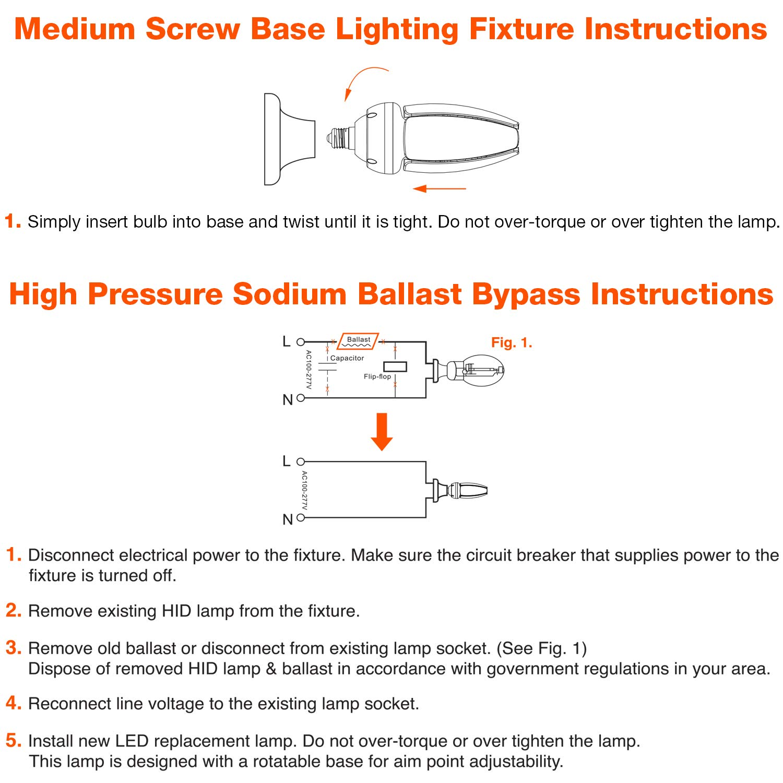 GoodBulb 50 Watt LED Street Light Replacement Bulb - E39 Base - 5000K - 1 Pack
