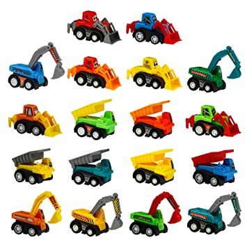 Toy Cars Mini Pull Back Construction Vehicles 18 Pcs Party Favors Cake  Decorations Topper Kit Set Small Bulldoze Excavator Dump Truck Preschool