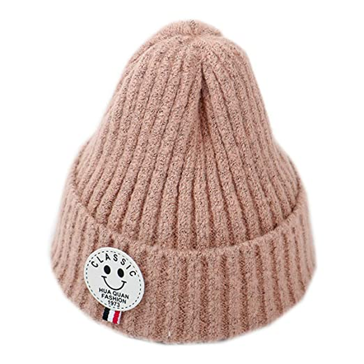 a1eeda49795 Monique Kids Solid Color Knit Cuff Beanie Hat Autumn Winter Warm Skull Cap  Snow Skiing Bucket