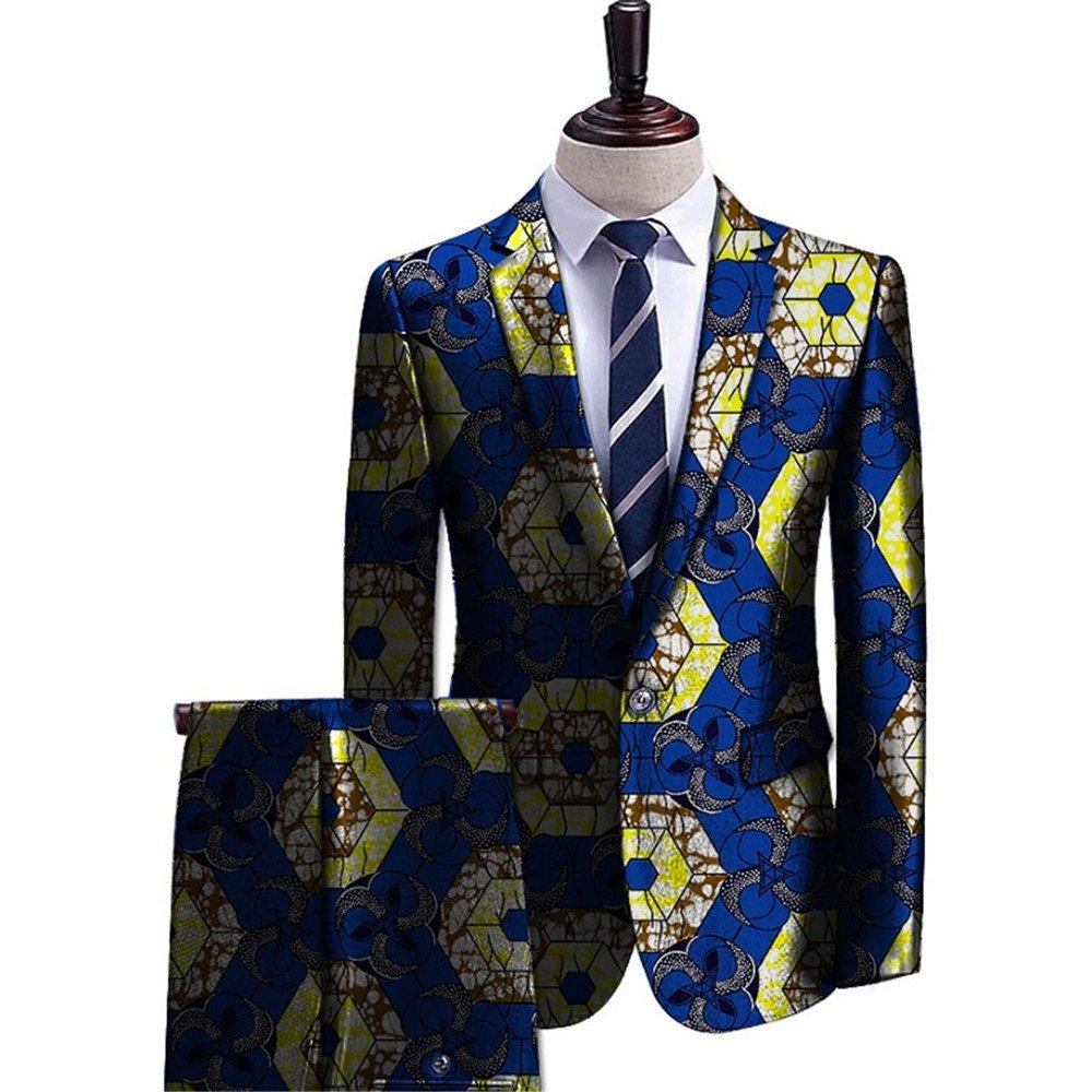 2017 Men's Vintage Clothing Wear Stand Collar Shirt And Slender Pant Free Size Dashiki Print 1 XL