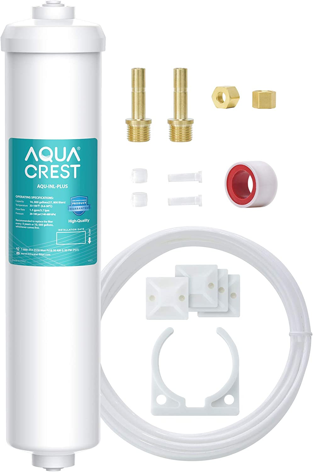 AQUACREST In-Line Water Filter for Refrigerator and Ice Maker, 10,000 Gallons High Capacity, 1/4-Inch Direct Connect Fittings, Reduces Lead, Chlorine, Bad Taste & Odor