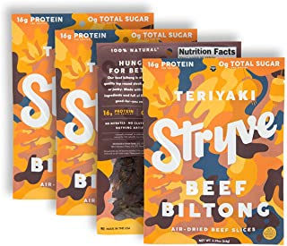 product image for Stryve Protein Snacks | Air Dried 100% Beef | Lighter than Jerky Keto Meat Snack | No Carb, No Sugar | 16g Protein | Teriyaki, 4 Pack of 2.25oz