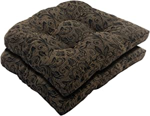 Bossima Indoor/Outdoor Wicker Seat Cushion, Set of 2,Spring/Summer Seasonal Replacement Cushions (Black/Gold Damask)